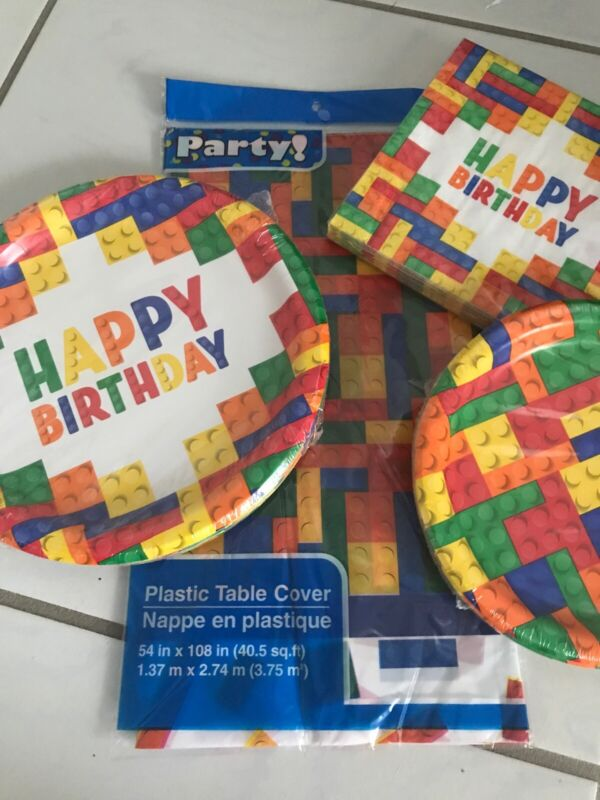 Birthday Party Kit Lego inspired Building Block PAPER PLATES NAPKINS TABLE COVER