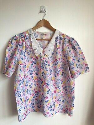 INTIMO VINTAGE FLORAL PRINT POLYESTER BLOUSE / SHIRT SIZE 18