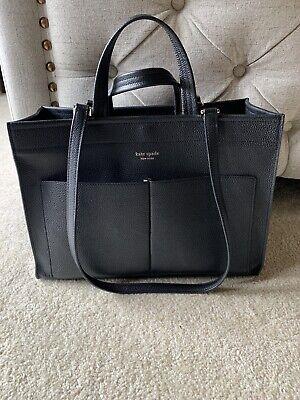 Kate Spade Large pocket sam satchel Shoulder Bag Tote Handbag $398 Black