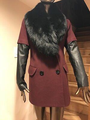 BELLA FARE WOMENS LEATHER SLEEVES CASHEMIR COAT W/DETACHABLE FUR COLLAR Med Bella Leather Coat