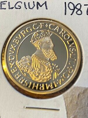 1987 BELGIUM PROOF 50 ECU GOLD COIN