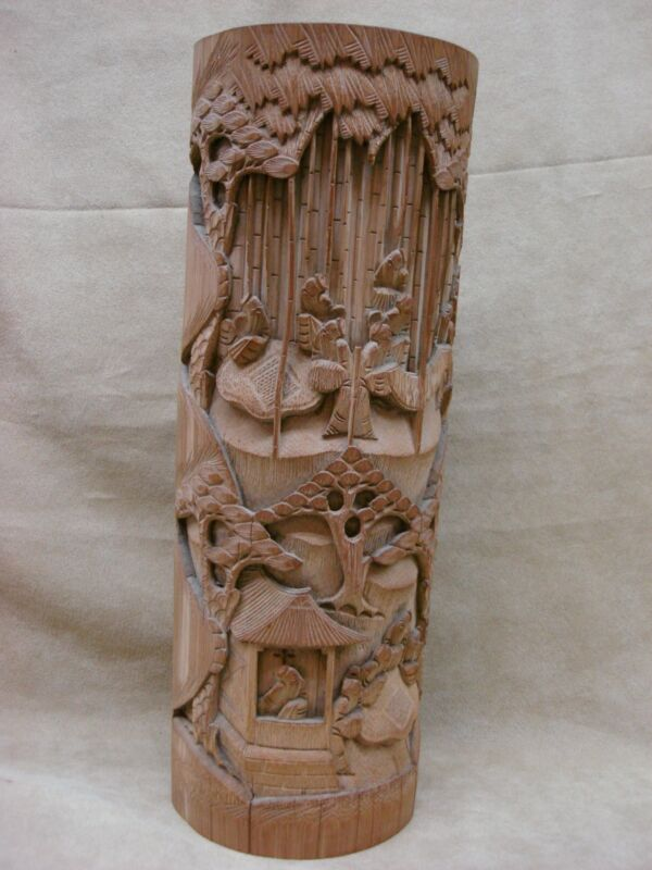 LARGE ANTIQUE CHINESE BAMBOO BITONG BRUSH POT! SCENIC CARVINGS