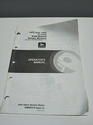 John Deere 12pz 14sz 21-inch Walk-behind Rotary Mower Op Manual Omm95319 L0 Q6