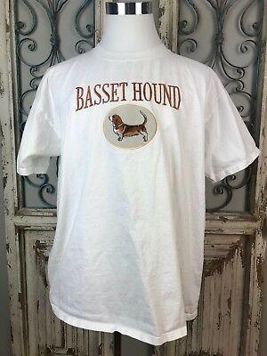 Anvil Men's 100% Preshrunk Cotton Basset Hound Embroidered T-shirt White Sz XL