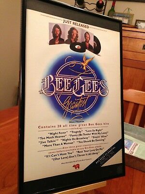 "BIG 11X17 FRAMED BEE GEES ""GREATEST"" HITS LP ALBUM CD PROMO AD + free bonus ad!"