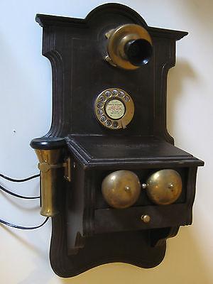 "Altes Telefon Wandtelefon antik alt  ""Western Electric"" Messing Holz Telephon"