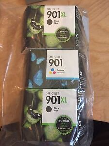 HP 901XL Black (x2) and 901  Tri-color Printer Ink Cartridges