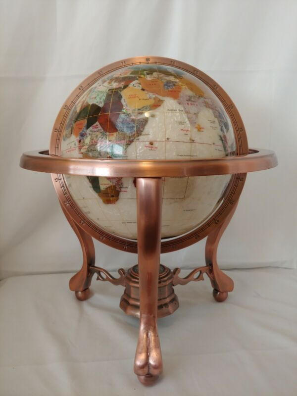 Alexander Kalifano Mother Of Pearl Gemstone Globe 3-Leg Antique Copper Stand