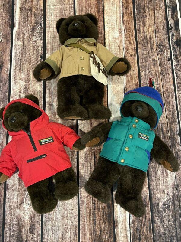 Lot Of 3 LL Bean 17 inch Brown Stuffed Plush Bears W/puffer vest Jacket & Hat