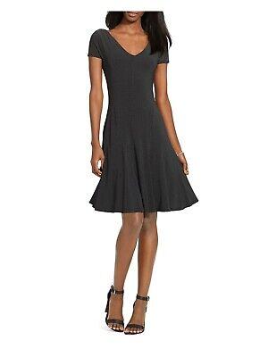 RALPH LAUREN $145 Womens New 1626 Black Polka Dot V Neck Fit + Flare Dress M B+B