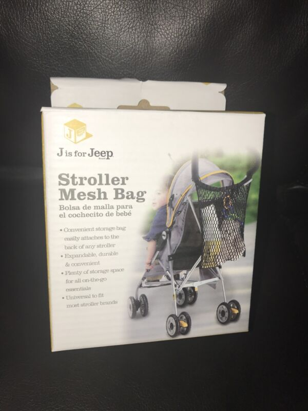 J is for Jeep Universal Size Stroller Mesh Bag And Organizer Black New