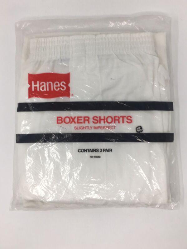 Vintage Vtg New White Mens Hanes 3 Boxer Shorts USA Cotton Poly 50/50 Size 38