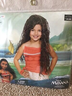 Disney Princess Moana Wig Hair Halloween Dress Up Costume Child Size New!