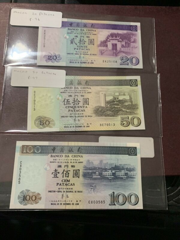 MACAU MACAO 100 50 20  PATACAS 2002 P 98b 97 96 UNC Price For All 3 Notes