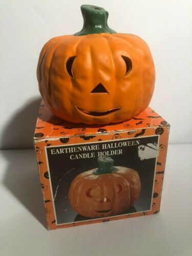 Vintage Halloween Earthenware Pumpkin Jack o