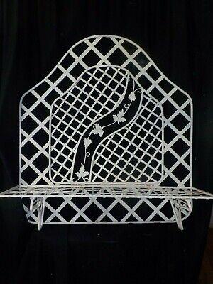 Vintage Wrought Iron Garden Patio Hanging Plant Shelf Lattice Trellis Stand