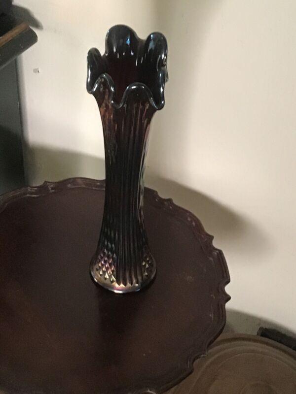 Vintage Black Amethest Northwood Carnival glass ribbed large 15 Inches vase