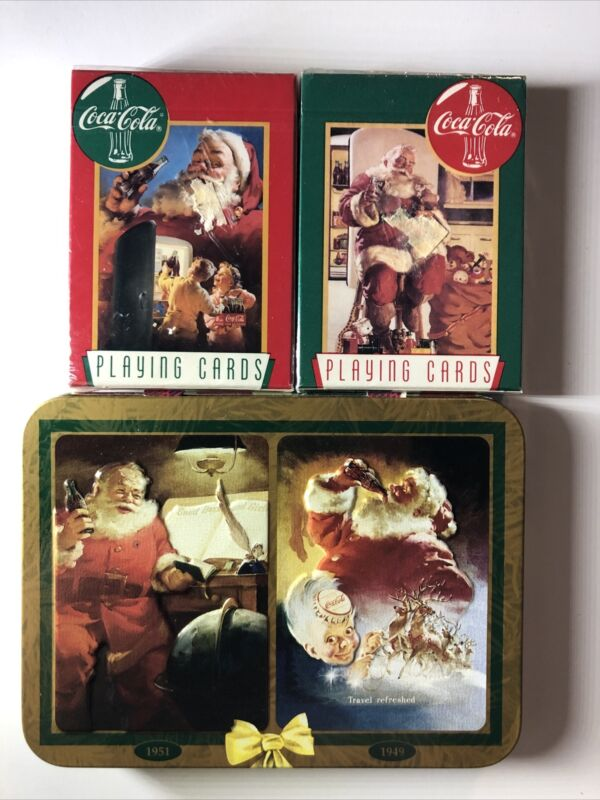Lot Of 4 Packs Of Vintage Coca Cola Santa Unopened Playing Cards , 2 In A Tin