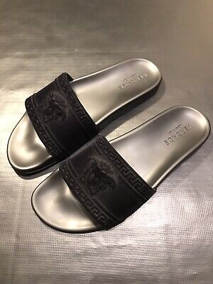 VERSACE MEDUSA HEAD VELVET SLIDES SANDALS SLIPPERS MSRP $395 46 13 US AUTHENTIC