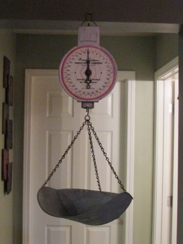 Vintage American Family Scale Co. Chicago Hanging Basket Scale 60 lb. NICE !!
