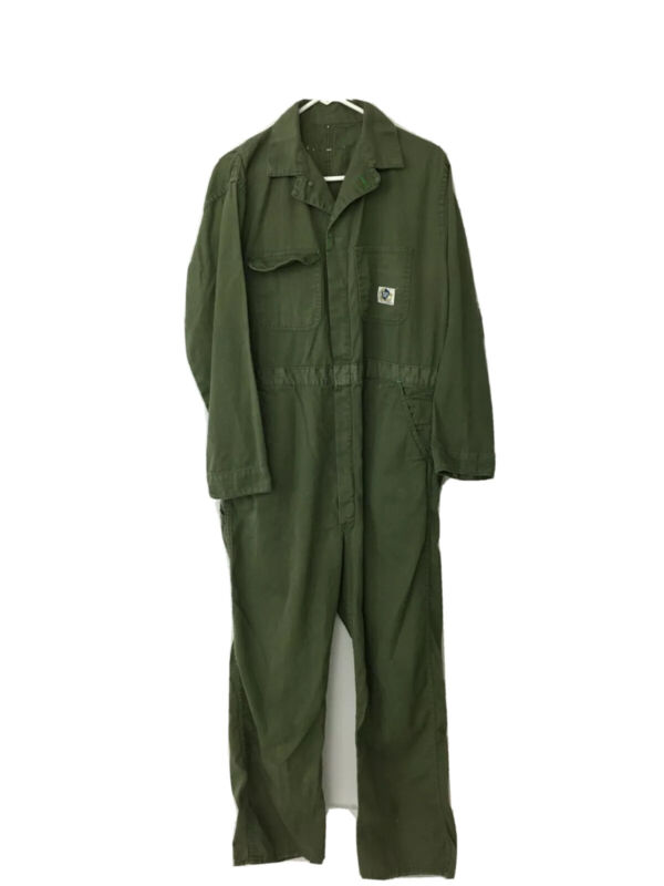 Vintage 1950s Blue Top Sanforized Work Coveralls Olive Green Union Made Mens 40