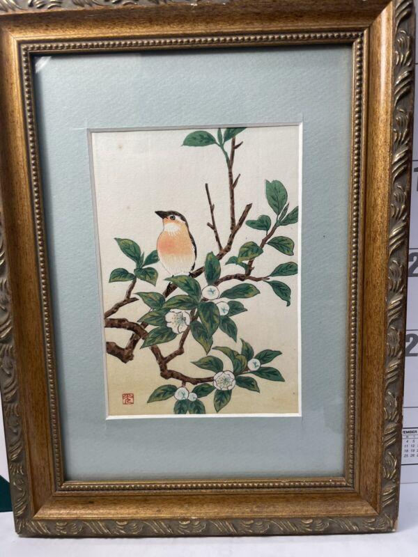 Vintage Chinese wood Block Print bird painting Beautiful Old