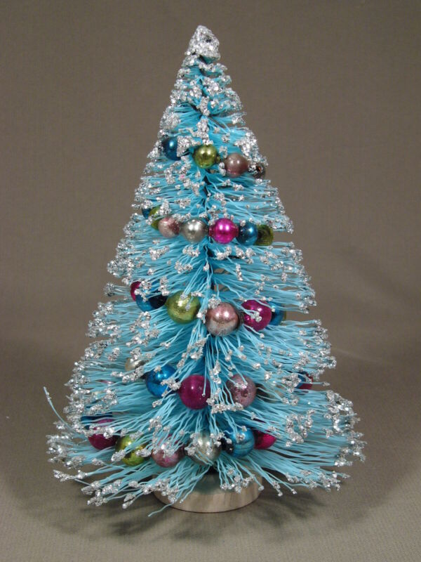 "Vintage Christmas 9"" Blue & Silver Bottle Brush Tree Mercury Glass Beads"