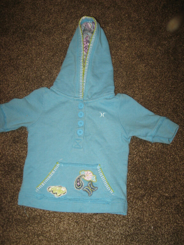 Adorable Light Blue Hurley Hoodie Hooded Sweatshirt White Trim EUC 6 Months