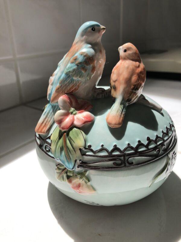 Fitz snd Floyd bluebird bowl, Lidded Candy Dish