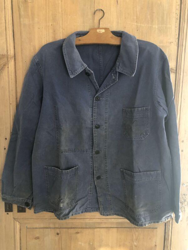 Vintage French BLEU DE TRAVAIL jacket WORK WEAR PATCHED moleskine c1950