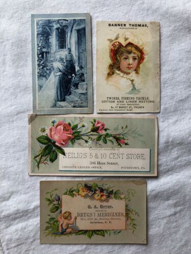 Lot of 4 Victorian Trade Cards Stores, Dealers, Italian Candy - Crafts, Art