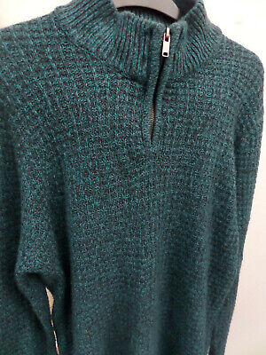 ACW85 Warm Green/Teal Waffle Design Jumper With Half Zip - Size Large