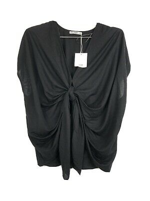 Zara Black Front Tie Blouse