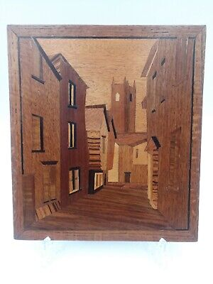Small Vintage Inlaid Wood Marquetry Plaque With Village Houses