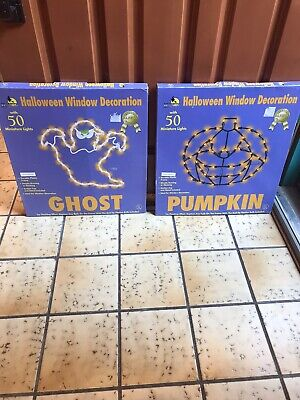 50 Light Both Pumpkin and Ghost Vtg Window Decorations Comes w/ the Boxes