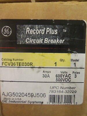 New In Box Ge Fcv 3 Pole 30 Amp Fcv36te030r Record Plus Circuit Breaker