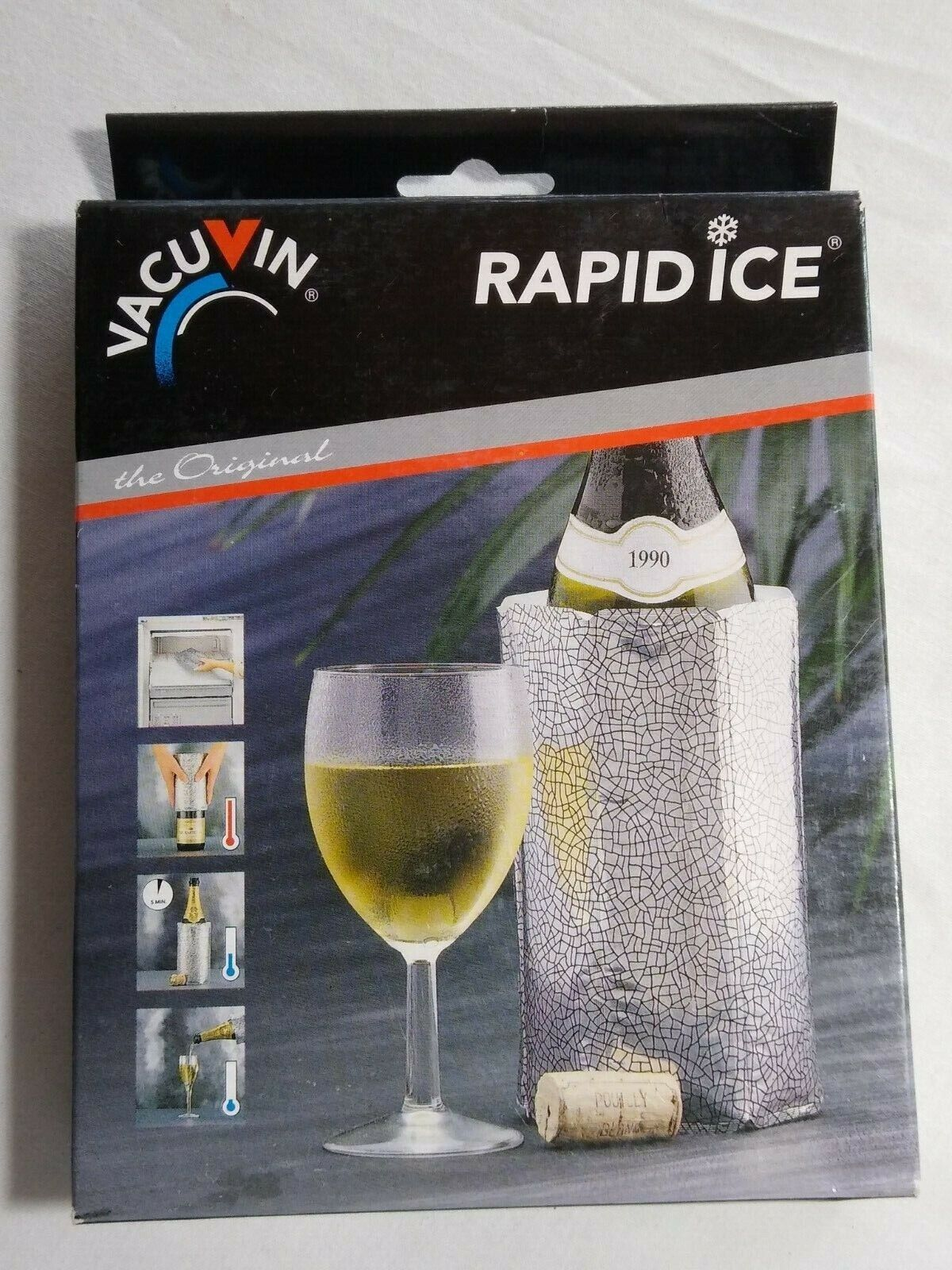 VACU VIN Rapid Ice Active Cooler Wine Champagne Bottle Chill
