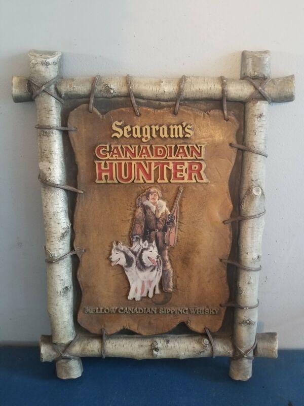 Seagram Whiskey Canadian Hunter guy Siberian husky dogs bar beer birchwood rare