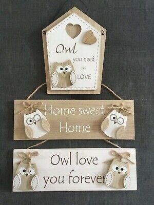 Rustic Wooden Wall Door Hanging Plaques Owl Love Home Sweet Home Owl House Home