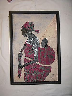 Frau mit Kind Bild aus Afrika Ghana Handarbeit