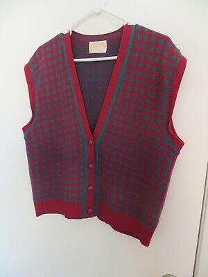 PENDLETON MILLS Mens Vintage Wool Sweater Vest L Large MAGENTA/TEAL Cardigan