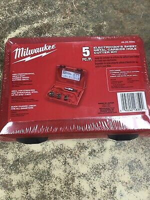 Milwaukee 49-22-8300 5pc Carbide Tipped Sheet Metal Hole Cutter Electricians Kit