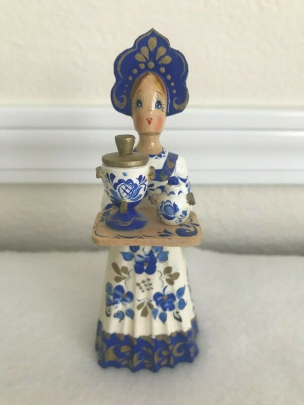Vintage Russian Folk Art Hand Carved & Painted Wood Figurine Signed Blue White