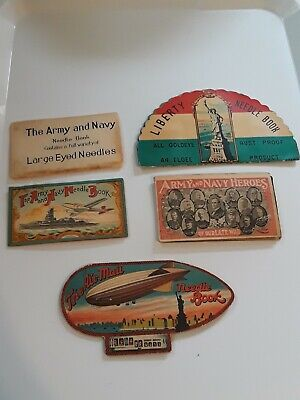 4 Antique Vintage Advertising Sewing Needle Books ARMY & NAVY ZEPPELIN LIBERTY
