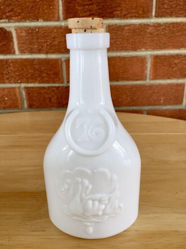 Vintage Wheaton Milk Glass Seasons Greetings Bicentenial Decanter