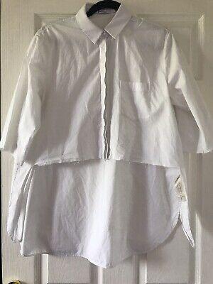 T By Alexander Wang Oversized Raw Hem Cotton White Shirt Size S