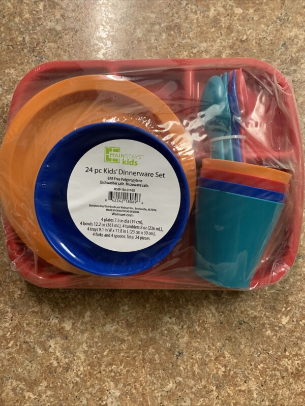 Mainstays Kids Dinnerware Set, 24 Piece, BPA Free, Four Complete Kids Settings