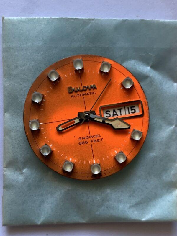 New BULOVA men's Snorkel 666 Automatic  Orange Dial Hands Swiss NOS Patina