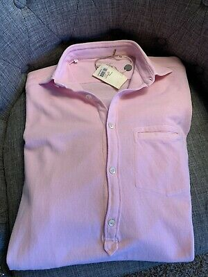Alessandro Gherardi Shirt Polo 4 Button Front Relax Fit Pink Sz15-3/4 Italy