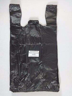 1/6 GRACIAS Carry - Out Plastic T-Shirt Bags Black with Handles 11.5